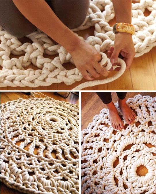 Вязание ковриков крючком веревкой