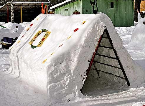 Как из снега сделать домик для