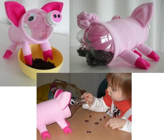 Как сделать из пластиковых бутылок свинья 688