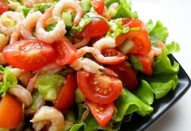 Салат помидоры креветки рецепт